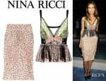 Dasha Zhukova's Nina Ricci Floral Print Silk Top And Nina Ricci Floral Print Ruched Silk Skirt
