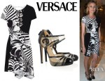 Diane Kruger's Versace Printed Silk Crepe Dress And Versus Patent Leather And Mesh Pumps