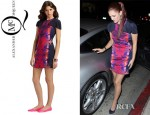 Drew Barrymore's McQ Alexander McQueen Printed Molded Torso Silk Dress