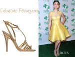 Emmy Rossum's Salvatore Ferragamo Benoit Metallic Leather Sandals