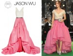 Fan Bingbing's Jason Wu Ruffled Two Tone Silk Crepe De Chine And Gazar Gown