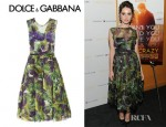 Felicity Jones' Dolce & Gabbana Eggplant Print Silk Organza Dress