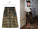Felicity Jones' Proenza Schouler Striped Eel Skirt And Proenza Schouler Striped Cotton Piqué Polo Top