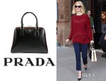 January Jones' Prada Saffiano Vernice Framed Top Handle Bag