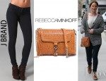 Jennifer Lawrence's Rebecca Minkoff Perf Weave MAC Bag and J Brand 901 Leggings