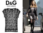 Jessica Alba's D&G Black Short Sleeve Lace Top