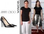 Judy Greer's Vince Little Boy Tee And Jimmy Choo Abel Pointed Patent Leather Pumps