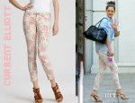 Katie Holmes' Current/Elliott Floral Printed Stiletto Jeans