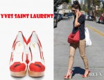 Katie Holmes's Yves Saint Laurent Maryna Flower Print Wedges