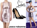Katy Perry's Paco Rabanne Metallized Tulle Dress And Christian Louboutin Sex Patent Leather Pumps