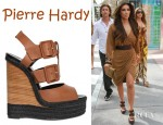 Kim Kardashian's Pierre Hardy Leather Buckle Sandal Wedges