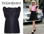 Lady Gaga's YSL Puff Sleeved Silk Organza Top
