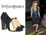 Lady Gaga's YSL Cardinal Metallic Paneled Suede Pumps