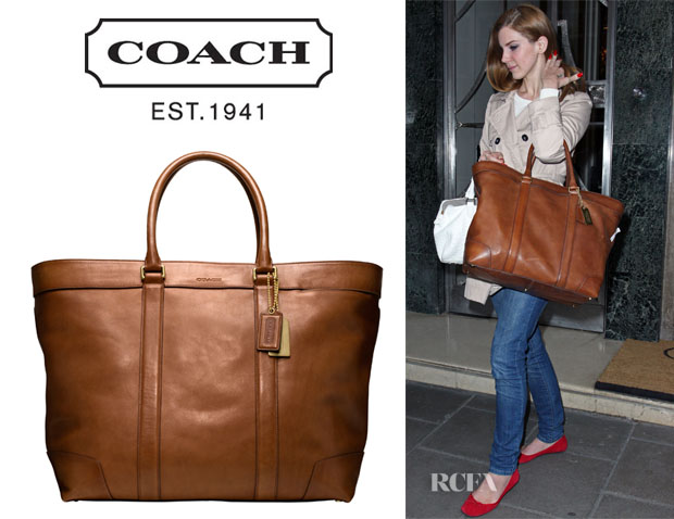 Lana Del Rey s Coach Bleecker Legacy Leather Weekend Tote - Red ... a0d981bd0c68