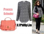 Mandy Moore's 3.1 Phillip Lim Leopard Print Henley Shirt And Proenza Schouler PS1 Large Leather Satchel