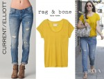 Mandy Moore's Rag & Bone Pocket  Tee And Current/Elliot Ankle Skinny Jeans