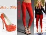 Miranda Lambert's Current/Elliott Stiletto Jeans And Alice + Olivia Bethie Snake Print Leather Platform Pumps