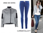 Miranda Kerr's Dries Van Noten Jacket And Current/Elliott Ankle Skinny Jeans