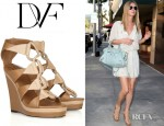 Nicky Hilton's Diane von Furstenberg Theia Leather Wedge Sandals