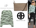 Nicole Richie's Proenza Schouler Zebra Print Knitted Cotton Blend Sweater And House Of Harlow 1960 Riley Oversized Clutch
