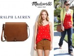 Olivia Wilde's Madewell Rose Blossom Cami And Ralph Lauren Medium Saddle Shoulder Bag