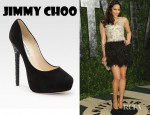 Paula Patton's Jimmy Choo Crystal Heel Suede Pumps