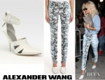 Rihanna's Alexander Wang Botanical Ombre Digital Print Jeans And Alexander Wang Joan Leather Point Toe Mule Pumps