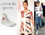 Rihanna's Religion God Save The Queen T-Shirt And Comme des Garcons High-Top Canvas Sneakers