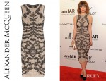 Rose Byrne's Alexander McQueen Lace Effect Fine Knit Dress