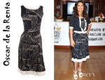 Salma Hayek's Oscar de la Renta Box Pleat Embroidered Dress