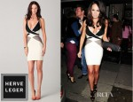 Tamara Ecclestone's Herve Leger Colour Block V Neck Dress And Christian Louboutin Marquise Spike Embellished Leather Clutch