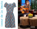 Taylor Swift's Oscar de la Renta Printed Stretch Cotton Blend Dress