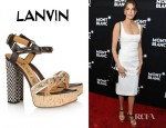 Teri Hatcher's Lanvin Leather And Raffia Sandals