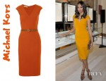Zoe Saldana's Michael Kors Belted Stretch Wool Blend Dress