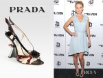 Alice Eve's Prada Embellished Patent Leather Slingback Wedge Sandals