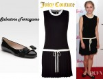 AnnaSophia Robb's Juicy Couture Black Drop Waist Merino Wool Tennis Dress And Salvatore Ferragamo Varina Patent Ballet Flats