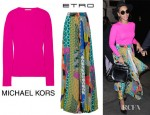 Beyonce Knowles' Michael Kors Ribbed Cashmere Sweater And Etro Printed Silk Crepe Maxi Skirt
