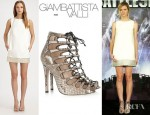 Brooklyn Decker's Giambattista Valli Silk Mini Dress And Giambattista Valli Python Gladiator Style Sandals