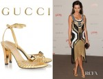 Camilla Belle's Gucci Metallic Leather Sandals
