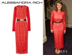 Carol Vorderman's Alessandra Rich Stretch Lace Gown
