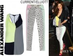Cheryl Cole's Alexander Wang Draped Colour Blocked Tank,Current/Elliott Leopard Print Stiletto Jeans, Boy. by Band of Outsiders Leather Trimmed Wool Blazer And Christian Louboutin Djaldos Wedge Sandals