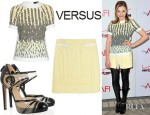Chloe Moretz' Versus Printed Crepe Top, Pleated Stretch Crepe Mini Skirt And Patent Leather And Mesh Pumps