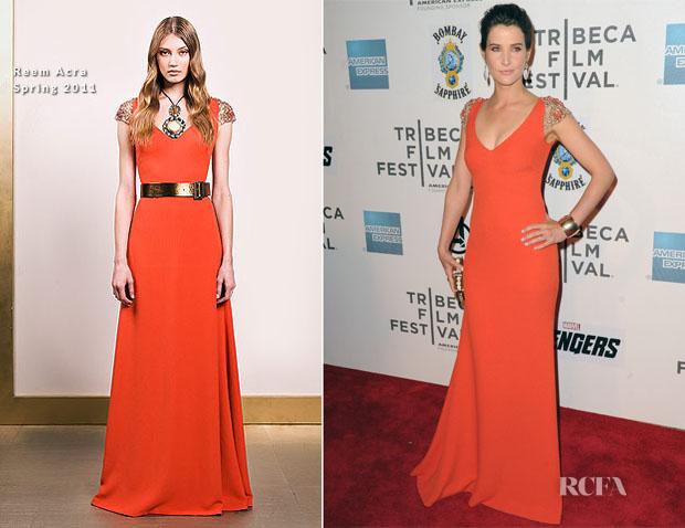 Cobie Smulders In Reem Acra - 'The Avengers' Tribeca Film Festival Premiere