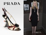 Dakota Fanning's Prada Embellished Patent Leather Slingback Wedge Sandals
