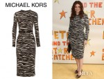 Debra Messing's Michael Kors Belted Zebra Print Stretch Crepe Dress