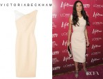 Demi Moore's Victoria Beckham Contrast Shoulder Stretch Cotton Blend Dress