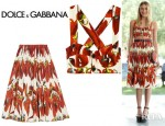 Dree Hemingway's Dolce & Gabbana Chili Pepper Print Cotton Bustier And Chili Pepper Print Cotton Poplin Skirt