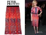 Elizabeth Banks' Peter Pilotto Cutout Lace Effect Chiffon Skirt