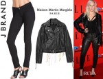 Ellie Goulding's Maison Martin Margiela Embroidered Flame Print Leather Jacket And J Brand Leather Skinny Pants