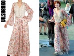 Florence Welch's Vilshenko Crepe De Chine Chiffon Dress And Dolce & Gabbana Metallic Woven Coated Raffia Shoulder Bag